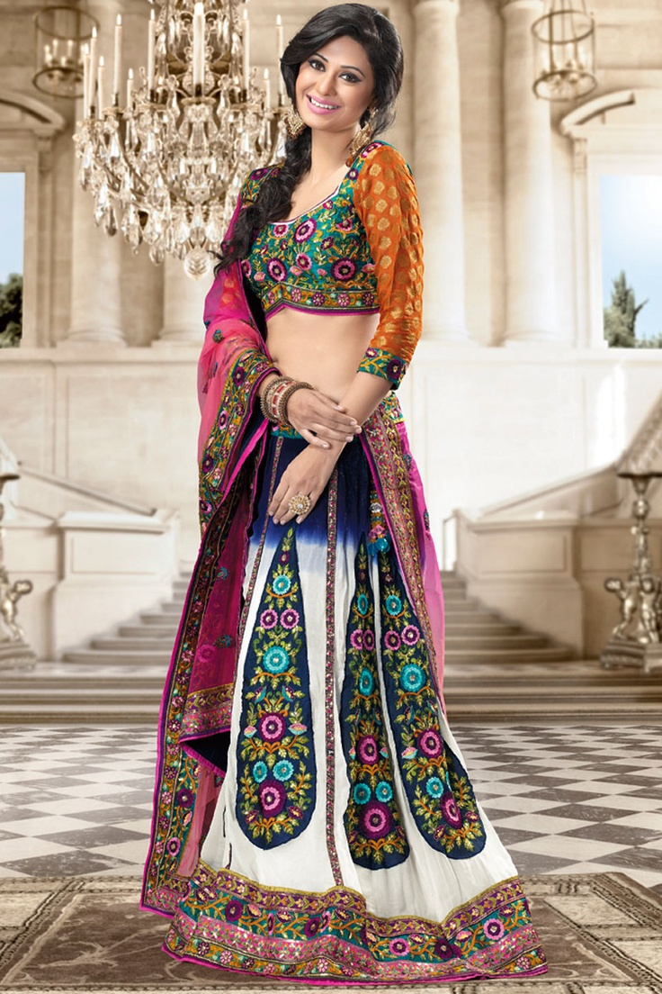 White and Navy Blue Faux Georgette Embroidered Lehenga Choli