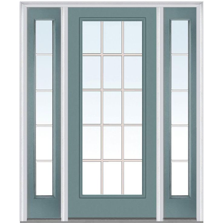 grilles between glass right hand full lite classic painted steel prehung front door with sidelites redwood