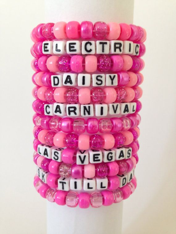 Set of 12 ALL PINK Kandi Bracelets for EDC Las Vegas 2014 - Electric Daisy Carnival - Customer Favorite on Etsy, $14.99