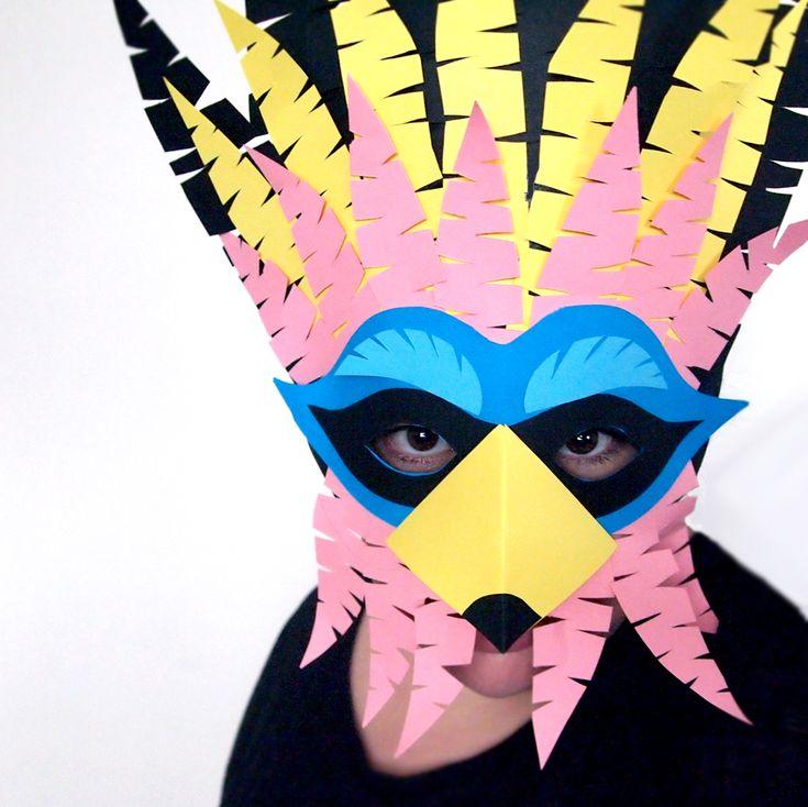 Design and Paper | DIY Cuckoo Masks for Carnival | https://www.designandpaper.com