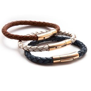 Luxury Rose Gold And Leather Bracelet