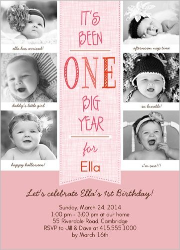 Love the idea of different pictures from the babys first year for the birthday invite.