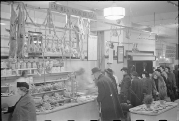 Meat counter at Selfridge's, 1942