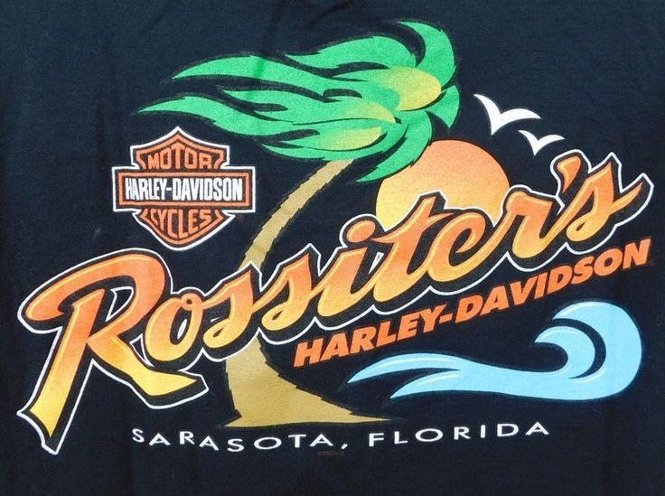 Rossiters Harley Davidson T-shirt L Black Cotton Sarasota FL Eagle Palm Trees #HarleyDavidson #GraphicTee