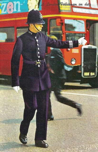 Charing Cross Road. A C division PC in No 1 uniform which was worn for State occasions