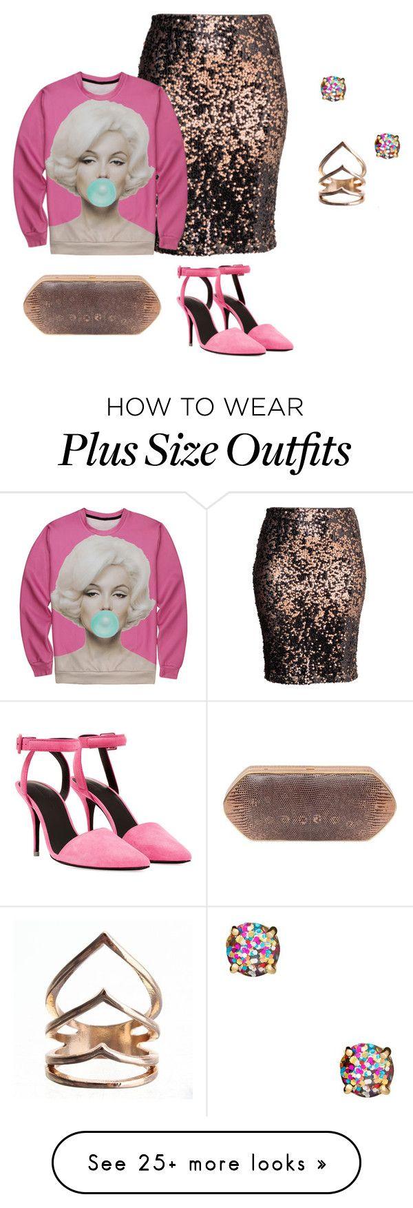 """plus size pretty eclectic in pink"" by kristie-payne on Polyvore featuring H&M, Kate Spade, Hunting Season and Alexander Wang"