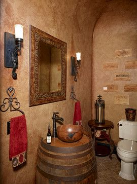 whisky barren bathroom vanity | Wine Barrel Vanity Design Ideas, Pictures, Remodel, and Decor