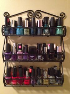 Organizing nail polish with a spice rack. Genius! REPIN. Why didnt I think of this!! I have nail polish all over my house!!