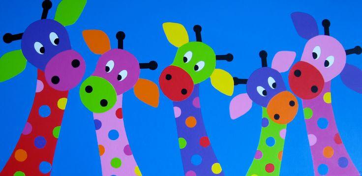 GIRAFFENFAMILIE   Kleurrijk schilderij voor op de babykamer