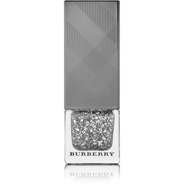 Burberry Beauty Nail Polish - Silver Glitter No.453 found on Polyvore featuring beauty products, nail care, nail polish, nails, silver, burberry and shiny nail polish