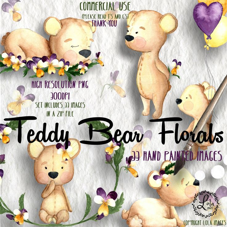 Excited to share the latest addition to my #etsy shop: Teddy Bear Florals Clipart | Plush Toy Viola Baby Animal Spring | Hand Painted Watercolor | Personal & Commercial Use | PNG Images https://etsy.me/2HlJkOI #art #drawing #blue #red #watercolor #illustration #cute #n