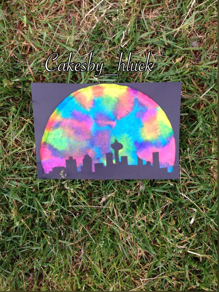 Tie dye Vancouver skyline craft  Created by tracing a Vancouver skyline photo onto black construction paper. Tye dying half of a coffee filter by using liquid food colouring and an eyedropper    Teen crafts   Crafts for teens   Craft