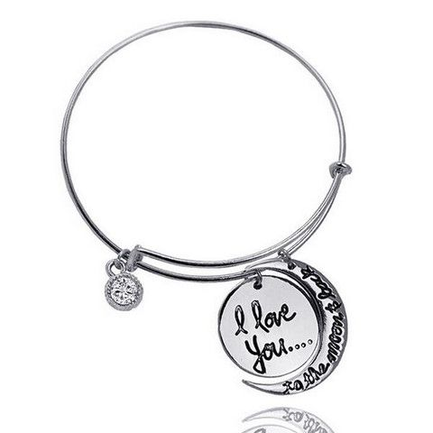 I Love You To The Moon And Back Charm Bangle Bracelet For Women