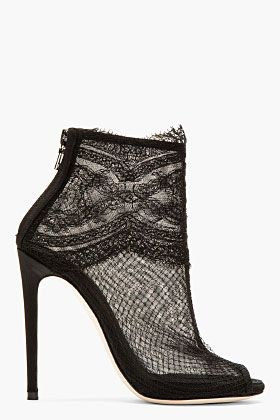 DOLCE & GABBANA Semi-sheer ankle boots in black. Layered mesh paneling at body with tonal silk paneling at heel. Peep toe. Zip closure at heel...