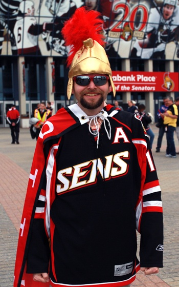 An Ottawa Senators Fan at Scotiabank Place in Ottawa, Canada.
