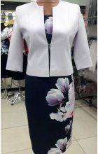 Dámské šaty pro plnoštíhlé s fialkovým bolerkem
