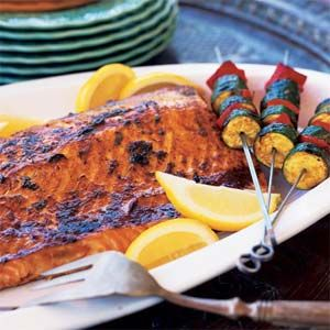 Notes: You can prepare through step 3 up to 2 hours before grilling; cover salmon and vegetables and chill. Prep and cook time: 45 minutes.
