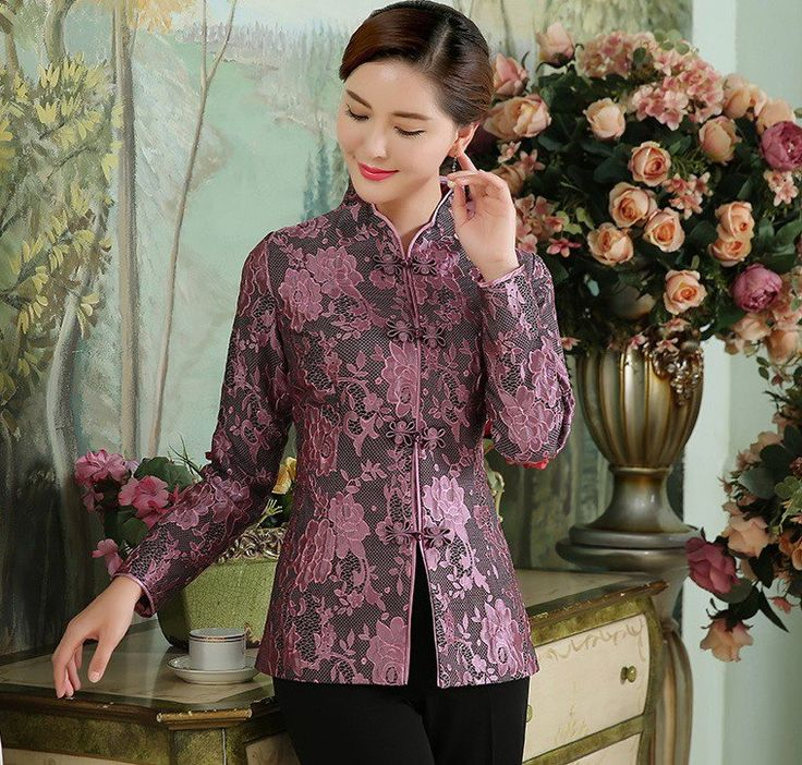 Elegant Women's Chinese Jacket Full of Floral Pattern Lace - iDreamMart.com