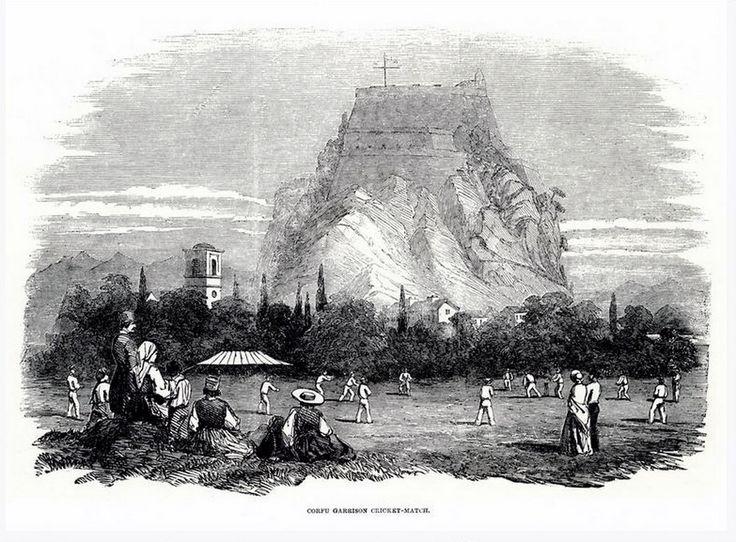 Αγώνας κρίκετ στη Σπινάδα, στην πόλη της Κέρκυρας, τον Ιούλιο του 1853. Στο βάθος το Παλαιό Φρούριο