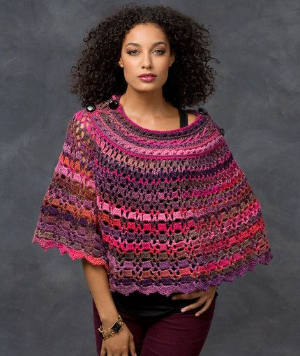 Dubonnet Poncho ~ Red Heart Unforgettable yarn gorgeous ...