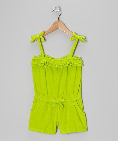 Take a look at this Lime Ruffle Romper Cover-Up - Girls by Pink Platinum & iXtreme on #zulily today!