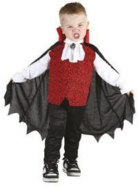 Vampir Kostümü, 3-4 Yaş Parti Kostümleri - Erkek Çocuk Parti Kostümleri Cadılar Bayramı Kostümü / Halloween Partisi Kostümü: Kostümlü Parti, Kıyafet Balosu, Okul Gösterileri ve Partileri için ideal Vampr, Drakula kostümü.  Kostüm önü kurukafa desenli arkası siyah yelek görünümlü ve kolları, yakası beyaz fırfırlı, kolyesi üzerine dikili gömlekten; yüksek kırmızı yakalı pelerinden oluşur. Pelerin yakadaki cırt cırtla gömleğe tutturulur. Polyester kumaştandır. Pantolon kostüme dahil değildir!