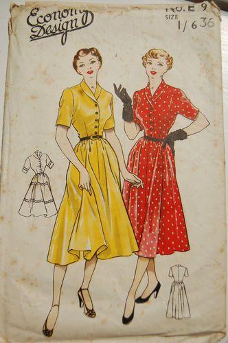 Classically lovely vintage shirtwaist day dress pattern (Economy Design pattern…
