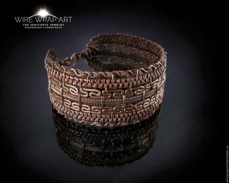 Купить Широкий браслет Будда - комбинированный, авторская ручная работа, авторское украшение, браслет на руку