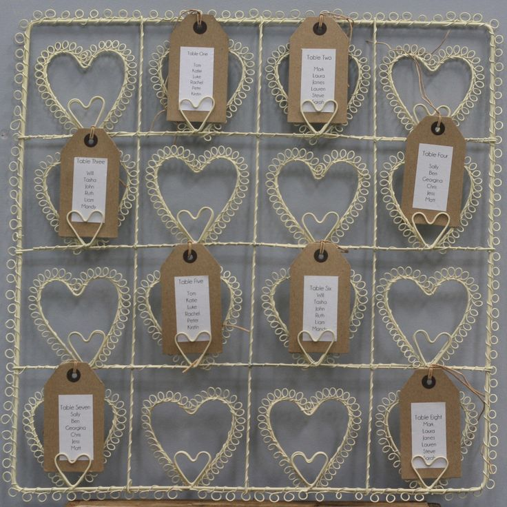 cream heart wedding table plan