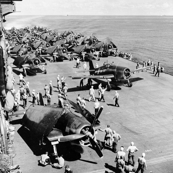 F6F-3 Hellcat, TBF-1 Avenger, and SBD-5 Dauntless aircraft aboard USS Saratoga in the Gilbert Islands, Nov 1943
