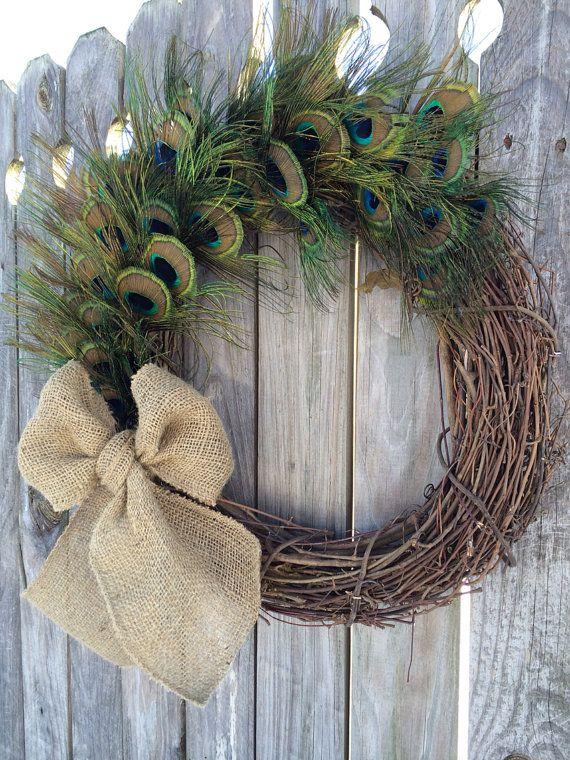 NEW Peacock Feather Wreath,  Peacock,Door Wreath  on Etsy, $75.00