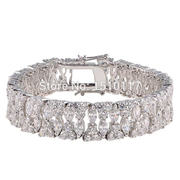 Double-safety-clasps Stunning AAA Zirconia Platium Plated Bracelet Bangle Link Chain Free Shipping