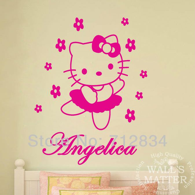 [B.Z.D] Free Shipping DIY Hello Kitty Personalized Name Art Decals Home Decor Vinyl Wall Stickers for Children Bedroom 90x75cm US $11.99