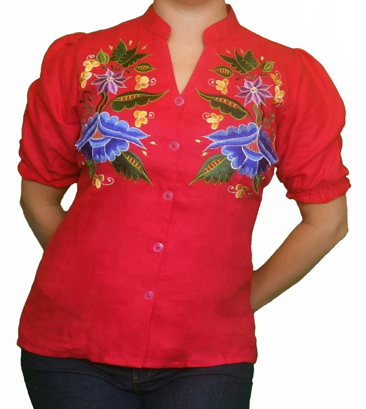 Red Mexican Folk Top 3/4 Sleeve, Handmade embroidered, elasticised back waist and sleeve hems by MexicanitaBoutique on Etsy