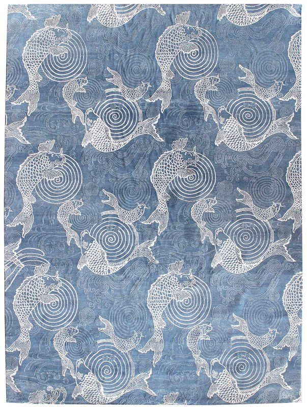 Fish Design Hand Knotted Wool Blue Indoor Area Rug Rugs Rugs On
