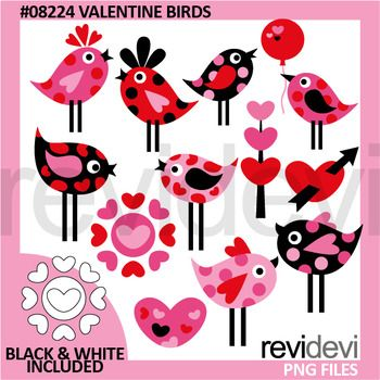 Valentine clipart set featuring Valentine birds in red pink black with lot of hearts.You will get 12 colored graphics and another 12 in black and white outline.Great resource for any school and classroom projects such as for creating bulletin board, printable, worksheet, classroom decor, craft materials, activities and games, and for more educational and fun projects.Format File:- Each clipart saved separately in PNG format, 300 dpi with transparent background.Commercial license and…