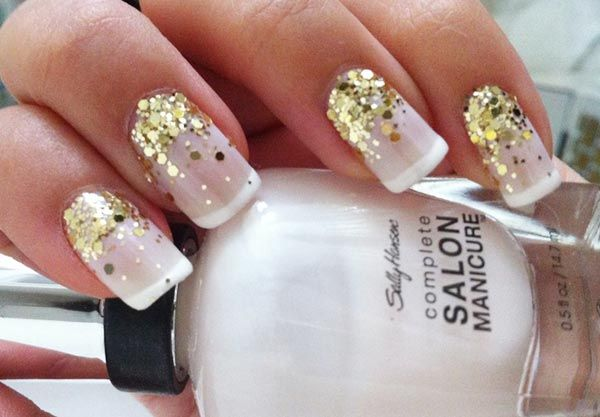 Replicate with Romantique and Studio White or Cream Puff tips and gold glitter