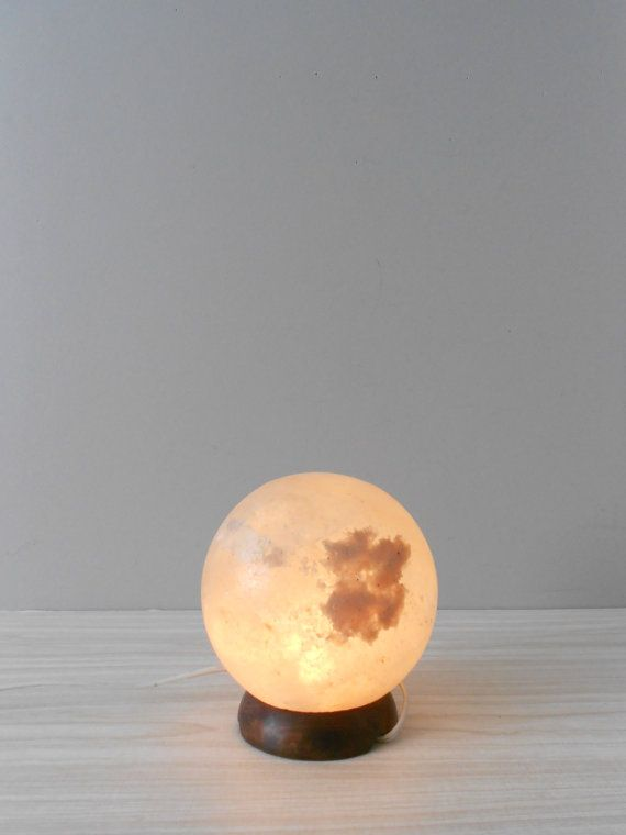 salt rock moon lamp on Etsy, Sold