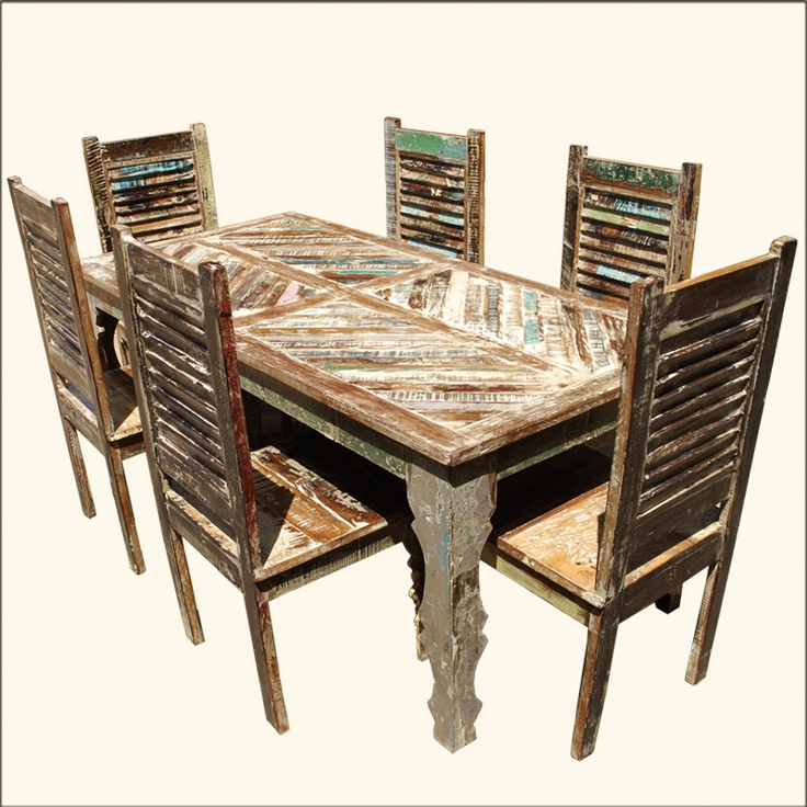 Rustic Reclaimed Wood Distressed 7pc Dining Table And 6 Chairs Set Furniture
