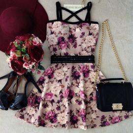 Vestido Letícia  C/BOJO no Neoprene ( Estampa Flowers)