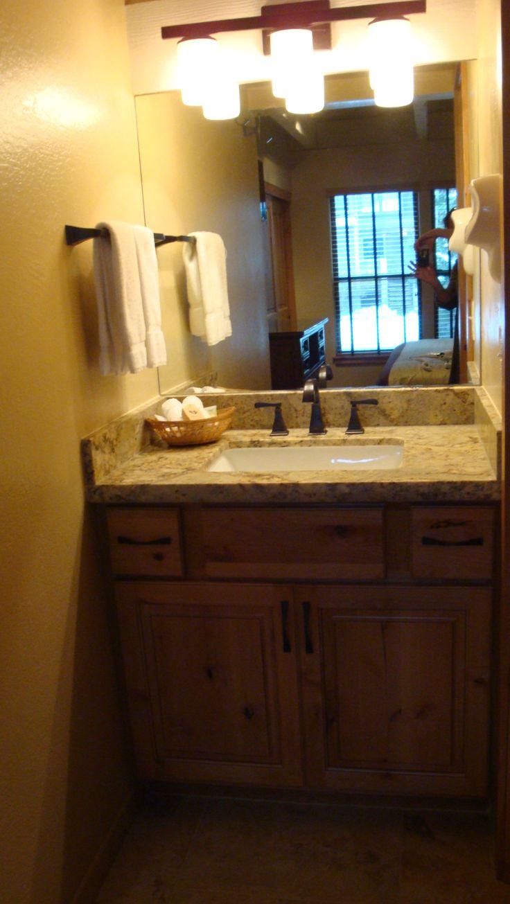 Lakeland Village Downstairs Master Bathroom Vanity With Leathered Granite Slab Granite And Under