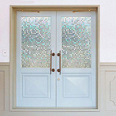 ガラスシート 目隠し モザイクタイルシール 3D窓用フィルム 浴室 目隠しシート ベランダ ガラスフィルム 断熱 再利用可能 紫外線カット 45*150cm