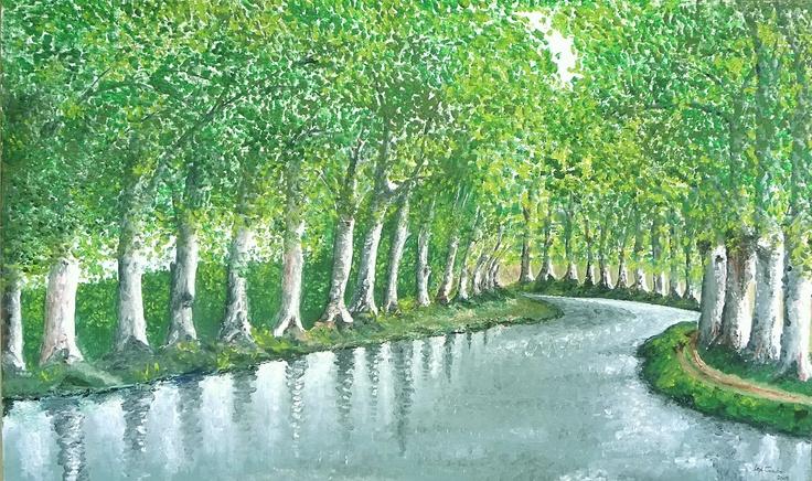 Oil on canvas. Canal de Midi  - France