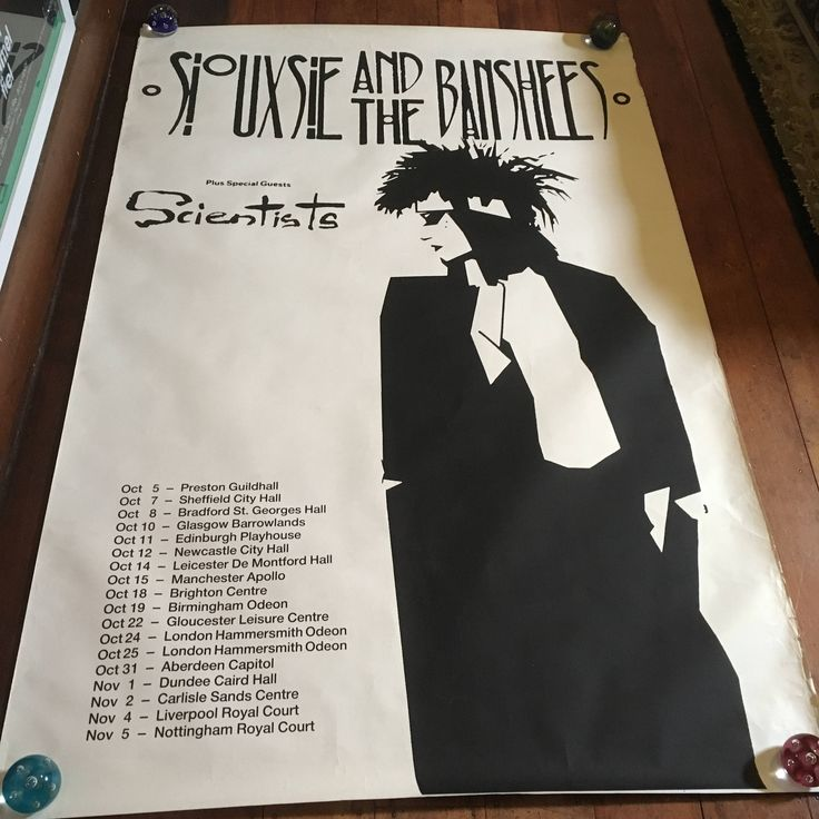 Siouxsie & The Banshees 1985 Screenprint Tour Poster London Scotland Original Rare Vintage Music Poster by RockPostersTreasures on Etsy