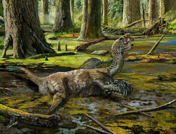 """Uma nova espécie de dinossauro, maior que um cão, com uma crista na cabeça, penas e queixo saliente, foi achada na China. Sem dentes, se alimentava de ovos, crustáceos, plantas ou avelãs.   Foi encontrado deitado de barriga para baixo e os braços estendidos para os lados do corpo, com o pescoço arqueado e a cabeça erguida. Teria morrido após atolar na lama e lutar, sem sucesso, para sair. Daí o seu nome: """"Tongtianlong limosus"""", ou """"dragão enlameado a caminho do céu""""."""