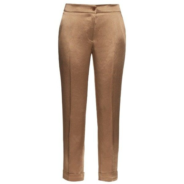 Etro High-rise cigarette-leg satin trousers (12,705 INR) ❤ liked on Polyvore featuring pants, capris, high-waist trousers, cigarette pants, high waisted pants, high-waisted trousers and cropped pants