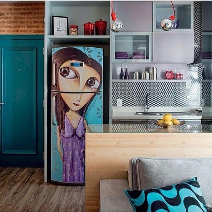Ideia linda para decorar a geladeira. Projeto: Juliana Pippi…