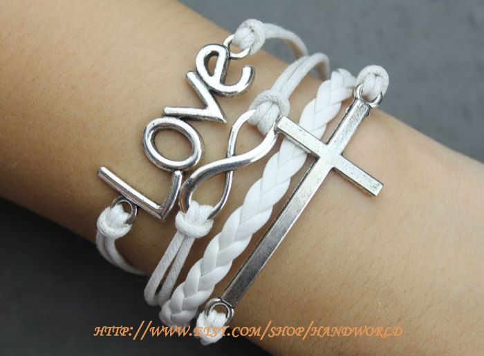 Silvery Love Bracelet Cross Bracelet Infinity Karma by handworld, $7.59