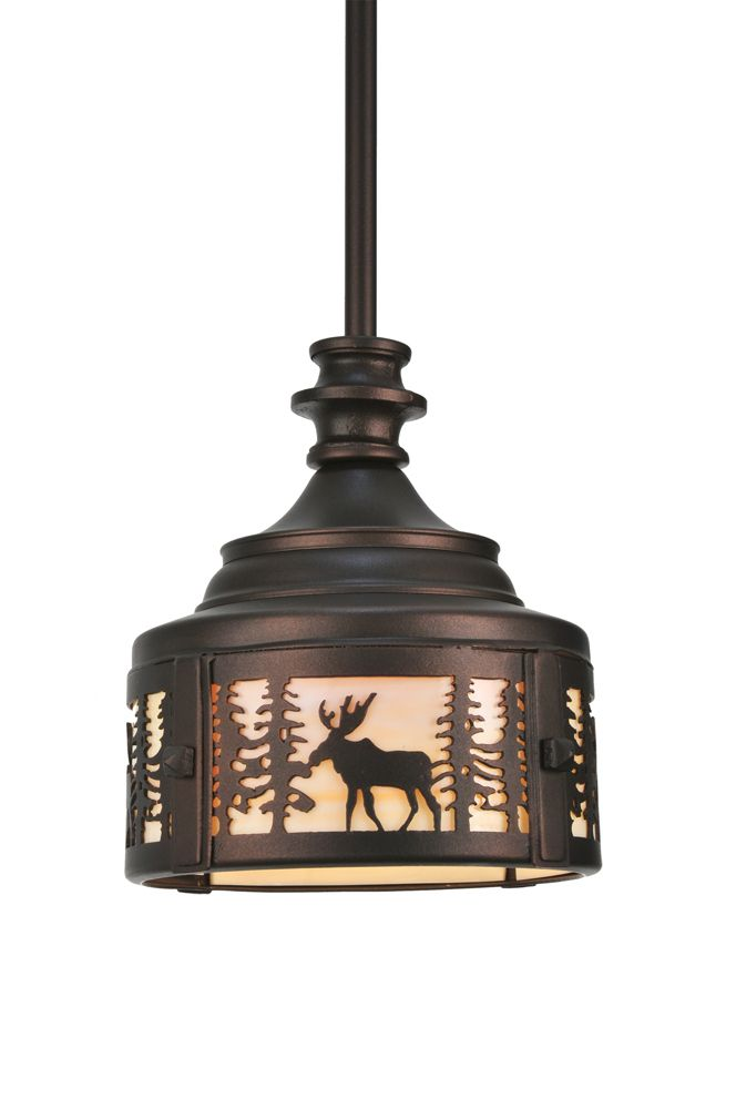 Rustic Lodge Art Glass Animals Ceiling Fixture