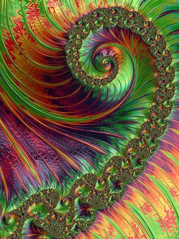 Green And Orange A Fractal Spiral Print by Mo Barton. All prints are professionally printed, packaged, and shipped within 3 - 4 business days. Choose from multiple sizes and hundreds of frame and mat options.